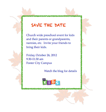PS event 10.26.12 save the date